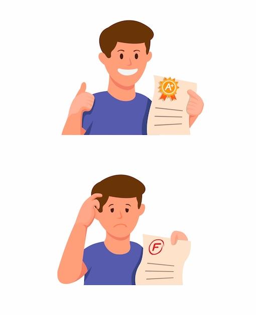 Het examenpapier van de de jongensholding van de student met het pictogram van het goede rang en slechte rangresultaat dat in beeldverhaalillustratie wordt geplaatst die op witte achtergrond wordt geïsoleerd Premium Vector