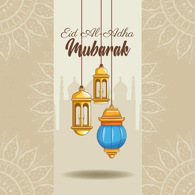 Het feest van islamitisch offer Gratis Vector