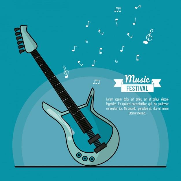 Het festival van de affichemuziek op blauwe achtergrond met elektrische gitaar Premium Vector