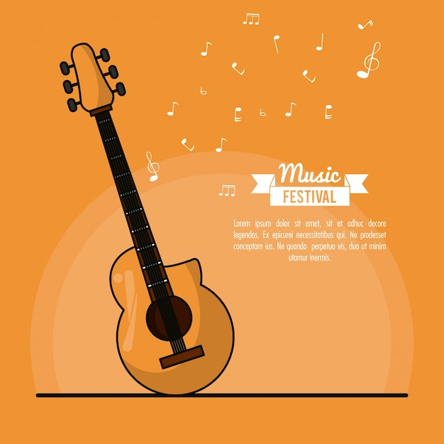 Het festival van de affichemuziek op oranje achtergrond met akoestische gitaar Premium Vector