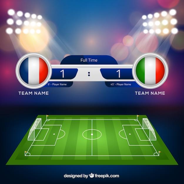Het gebiedsachtergrond van het voetbal met scorebord in realistische stijl Gratis Vector