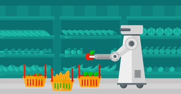 Het gebruik van robottechnologieën bij het winkelen. Premium Vector