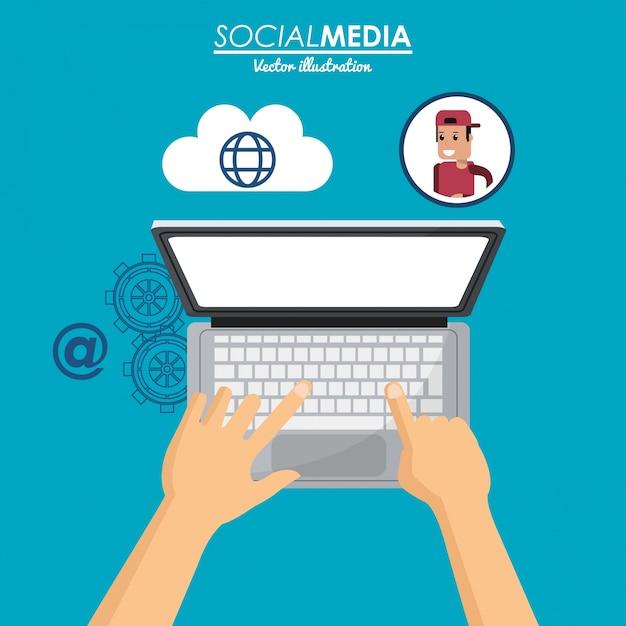 Het gebruiken van laptop sociale media cloudverbinding Premium Vector
