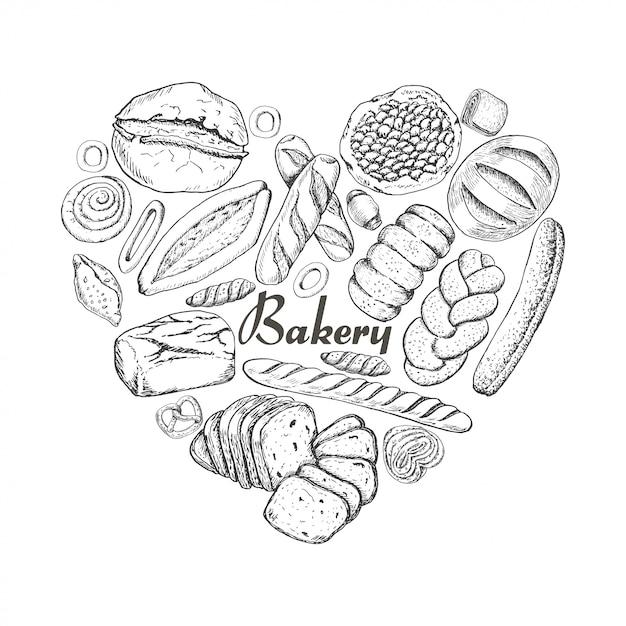 Het geïsoleerde hart van bakkerijproducten Premium Vector