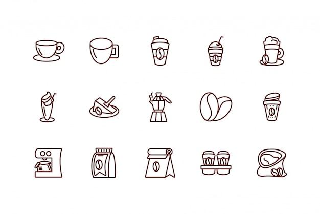 Het geïsoleerde vastgestelde vectorontwerp van het koffiepictogram Premium Vector