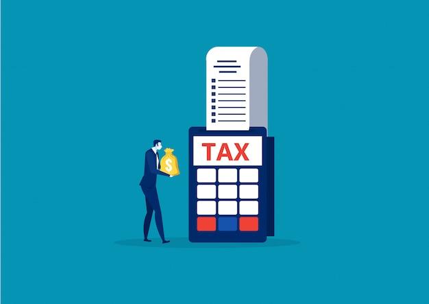 Het geld van de bedrijfsmensenholding voor de vector van het het eindjaarconcept van de loonbelasting Premium Vector