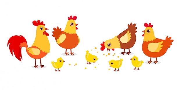 Het gelukkige leuke gevogelte van het kippenlandbouwbedrijf op dorp Premium Vector
