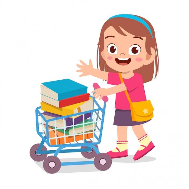 Het gelukkige leuke jong geitjemeisje brengt boek naar school Premium Vector