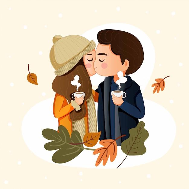 Het gelukkige leuke paar kussen in de wintervakantie Premium Vector