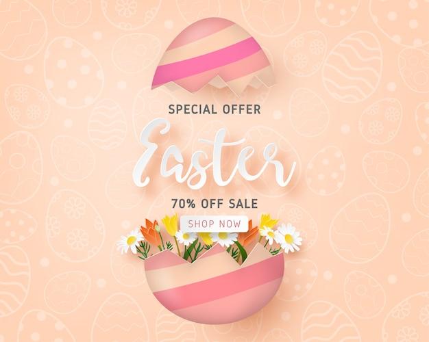 Het gelukkige pasen-sjabloon van de verkoopbanner met paasei en bloem Premium Vector