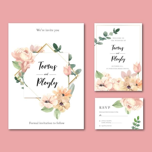 Het gelukkige van de de bloementuin van de huwelijkskaart kaart van de de uitnodigingskaart, rsvp detail. Gratis Vector