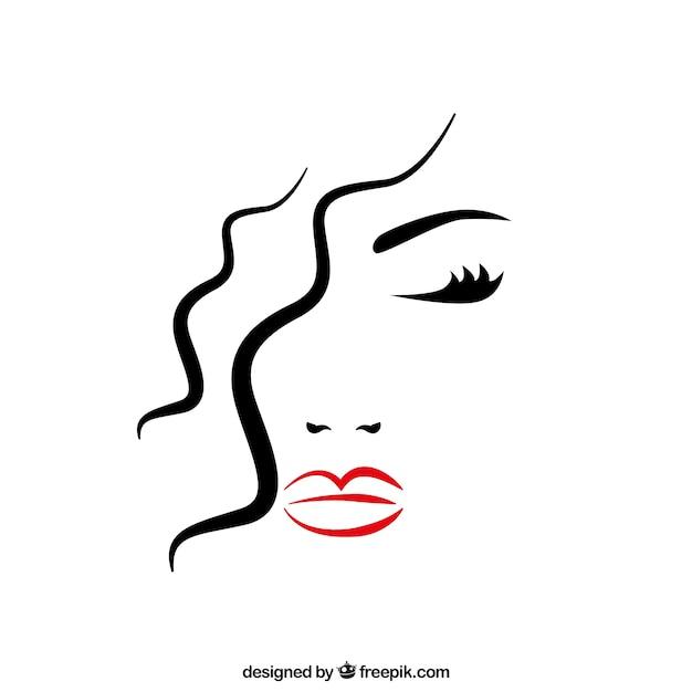 Het gezicht van de mooie vrouw met gesloten ogen Premium Vector
