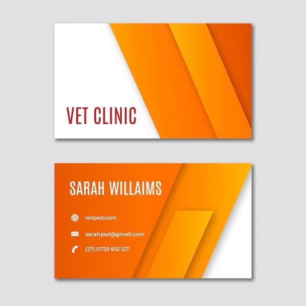 Het gezonde horizontale visitekaartje van de huisdieren veterinaire kliniek Premium Vector