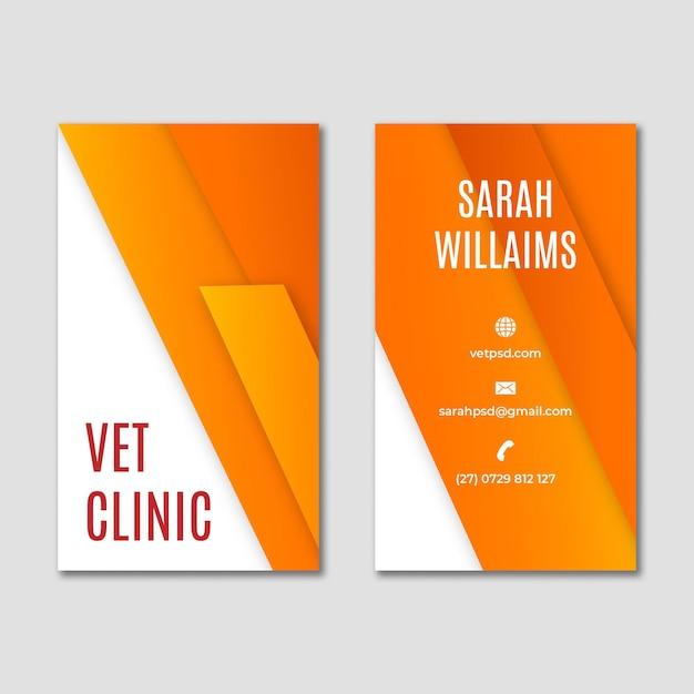 Het gezonde verticale visitekaartje van de huisdieren veterinaire kliniek Premium Vector
