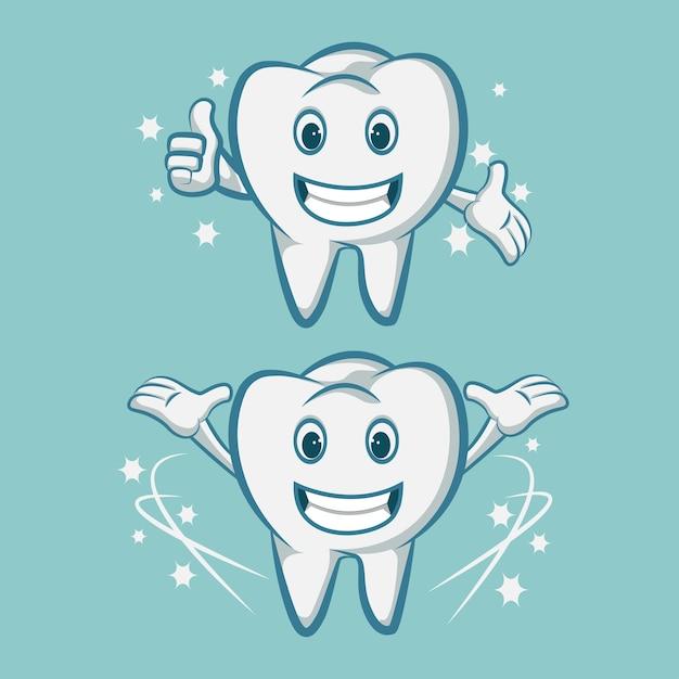 Het glimlachen van de tanden van de tandmascotte met een tandenborstel Premium Vector