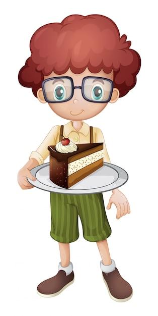 Het glimlachen van plakje cake van de jong geitjeholding Gratis Vector