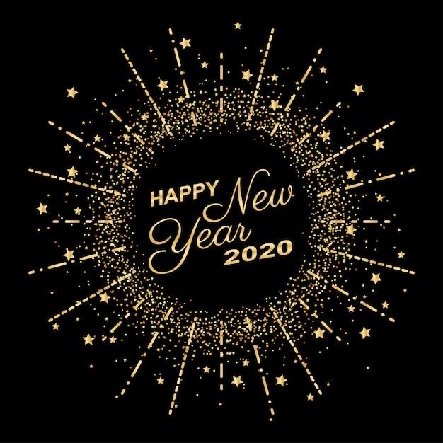 Het gouden gelukkige nieuwe jaar 2020 in het vuurwerk van de cirkelring met uitbarsting schittert op zwarte kleurenachtergrond Premium Vector