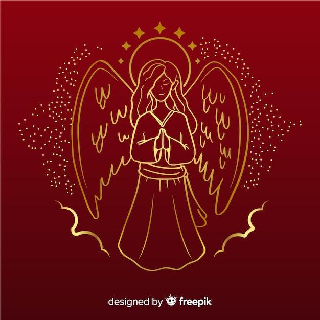 Het gouden vooraanzicht van de kerstmisengel met rode achtergrond Gratis Vector