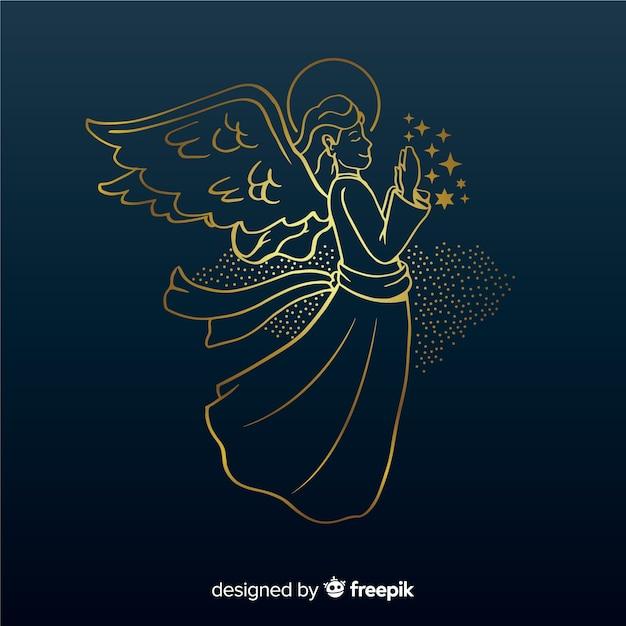 Het gouden zijaanzicht van de kerstmisengel met blauwe achtergrond Gratis Vector