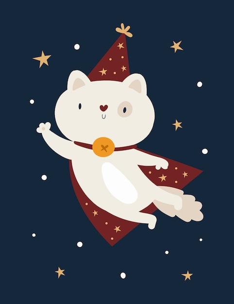 Het grappige dier van de babypotkat in magische die hoed op donkere achtergrond met sterren wordt geïsoleerd Premium Vector
