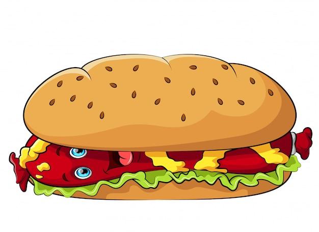 Het grappige karakter van het hotdogbeeldverhaal met mosterd Premium Vector