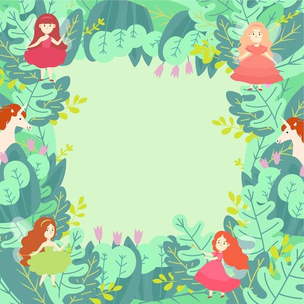 Het groene patroon van blad magische samenstellingen om conceptenillustratie. tovenaar eenhoorn en magische fee meisje karakter. Premium Vector