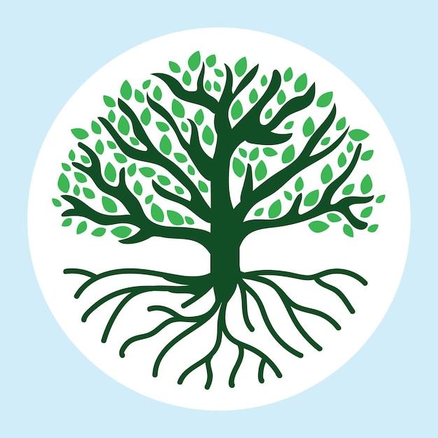 Het grote groene hand getrokken boomleven Gratis Vector