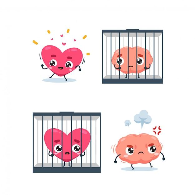 Het hart, de hersenen en de gevangenis. geïsoleerde illustratie Premium Vector