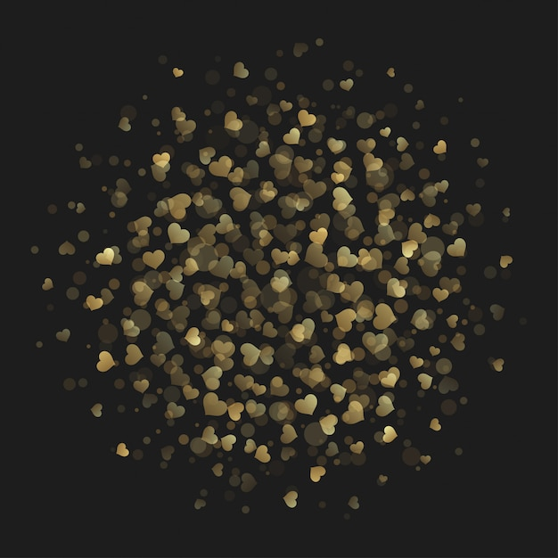 Het hart schittert van de lichten gouden stijl vectorillustratie als achtergrond. Premium Vector
