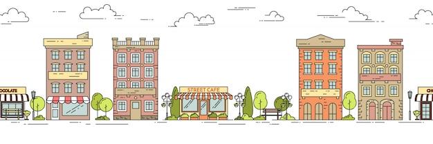Het horizontale naadloze patroon van het stadslandschap met huizen, park, koffie. lineaire vectorillustratie. Premium Vector