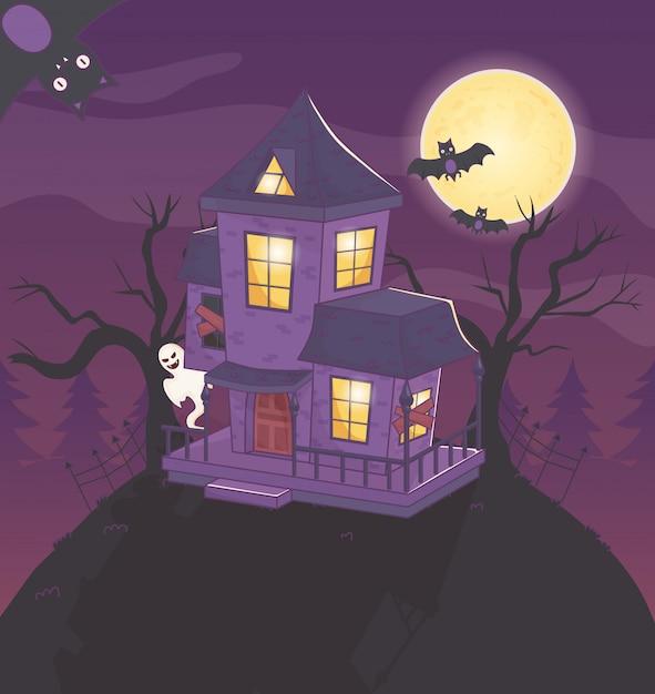 Het huis van spookknuppels in de nacht halloween Premium Vector