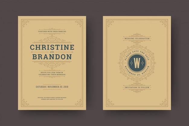 Het huwelijk bewaart de kaarten van de datumuitnodiging bloeit ornamenten. Premium Vector