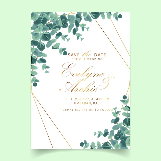 Het huwelijksuitnodiging van het groen met eucalyptusbladeren Premium Vector