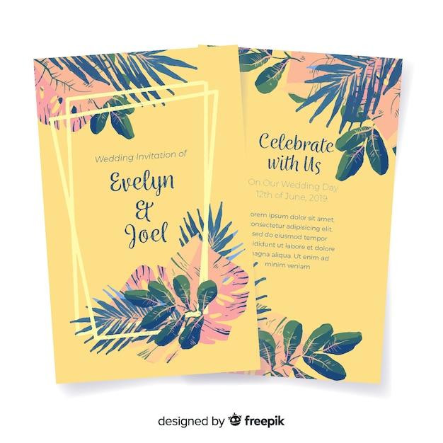 Het huwelijksuitnodiging van waterverf tropische bloemen Gratis Vector