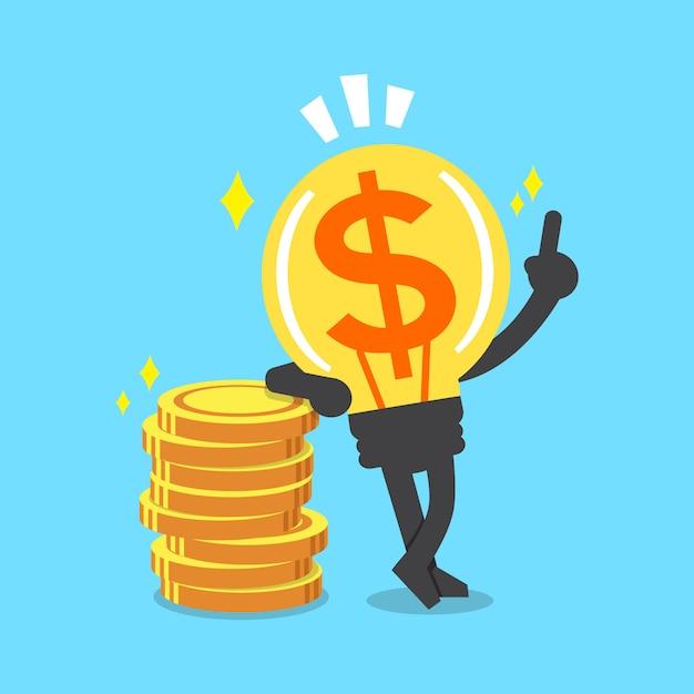 Het ideekarakter van het beeldverhaal groot geld met geldmuntstukken Premium Vector
