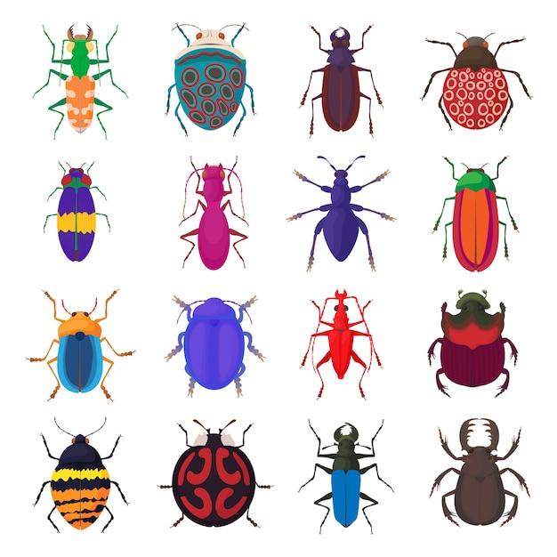 Het insectpictogrammen van het insect die in beeldverhaalstijl worden geplaatst Premium Vector