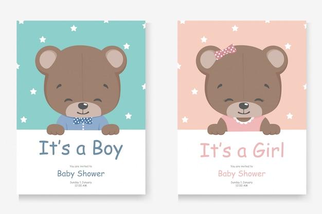 Het is een jongen of het is een meisje wenskaart voor baby shower met een kleine schattige beer Premium Vector
