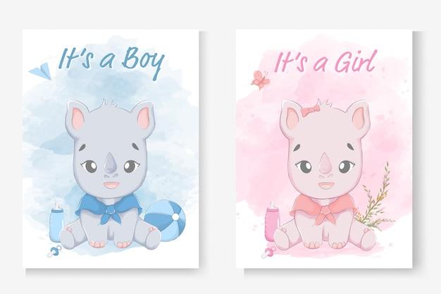 Het is een jongen of het is een meisje wenskaart voor baby shower met een kleine schattige neushoorn. Premium Vector