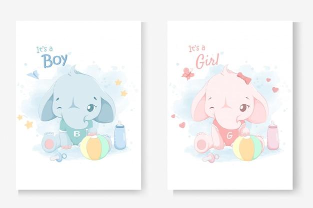 Het is een jongen of het is een meisjeswenskaart voor baby shower met een klein schattig olifantje. Premium Vector