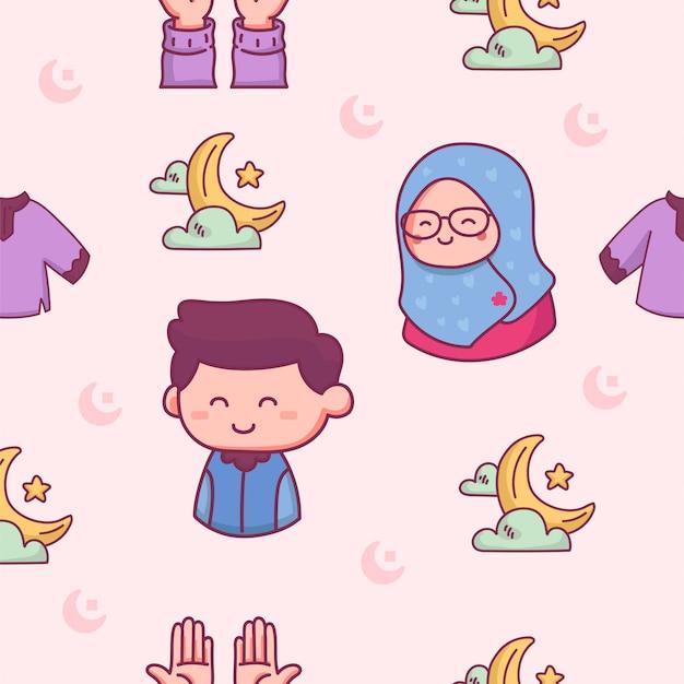 Het islamitische naadloze patroon bidt op ramadhan hand getrokken illustratie Premium Vector