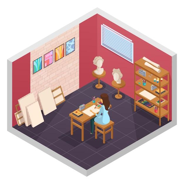 Het isometrische binnenland van de kunststudio met binnen het schilderen van opleidingslokaal materialenplanken en vrouwelijk karakter bij lijst vectorillustratie Gratis Vector