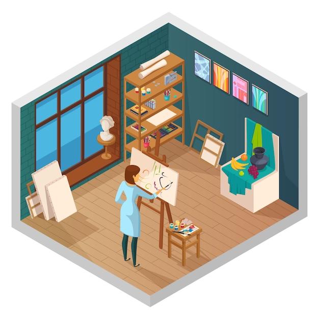 Het isometrische binnenland van de kunststudio van klaslokaal met de schilderijen van vensterplanken en vrouwelijk schilderskarakter op het werk vectorillustratie Gratis Vector