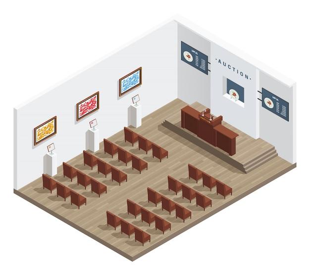 Het isometrische binnenland van de veilingsruimte met de stoelenbeelden van veilingmeesterstribune Gratis Vector