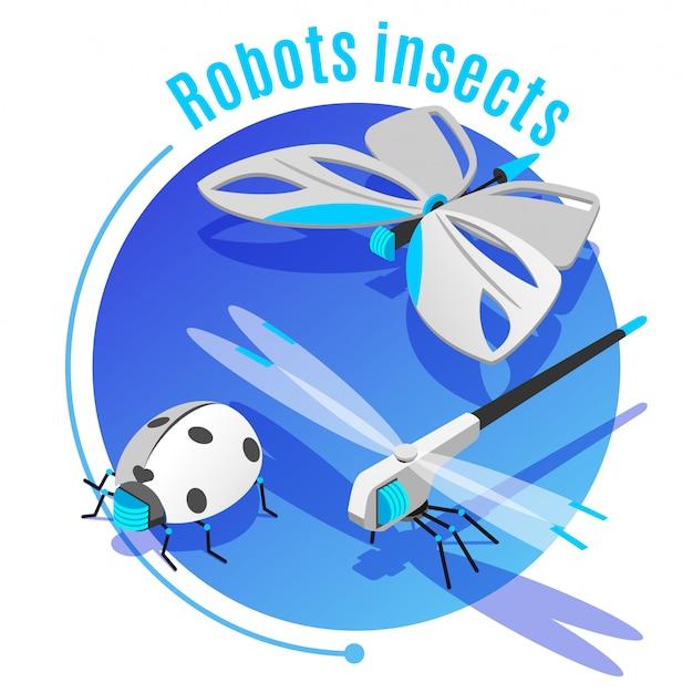 Het isometrische decoratieve cirkelkader van diereninsecten met draadloze vliegende robotachtige de keverlibel van het vlinderlieveheersbeestje Gratis Vector