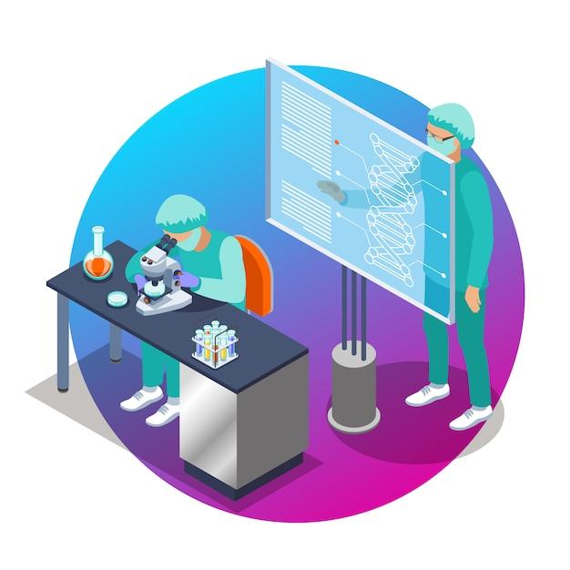 Het isometrische embleem van de microbiologie met twee wetenschappermensen die bij de laboratoriumillustratie werken Gratis Vector