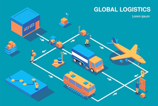 Het isometrische stroomschema van de logistiek horizontale samenstelling met mening van menselijke karakters en diverse voertuigen verbond met pijlen vectorillustratie Gratis Vector