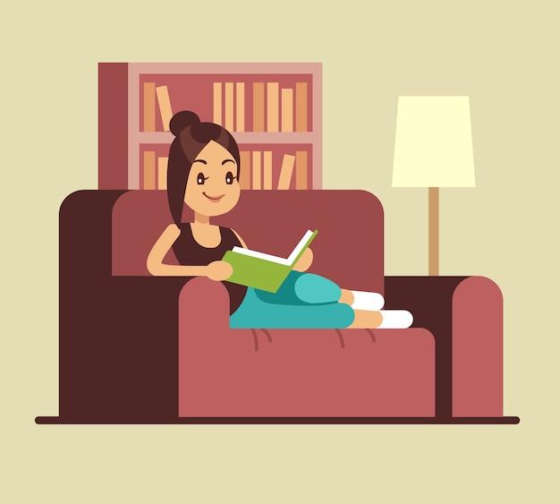 Het jonge boek van de vrouwenlezing op laag. thuis ontspannend vectorconcept. meisje gelezen boek op laag, studie en onderwijsillustratie Premium Vector
