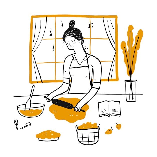 Het jonge vrouw koken in de keuken. Premium Vector