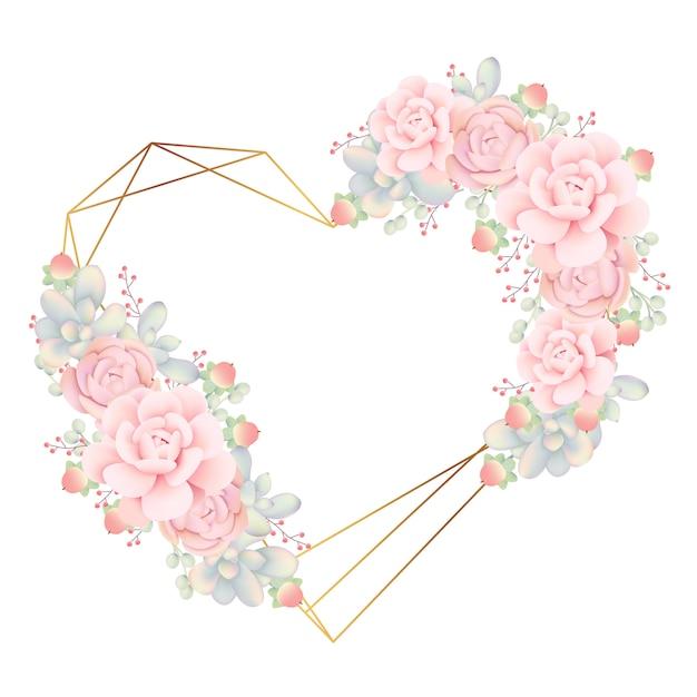 Het kaderachtergrond van de liefde bloemen met succulents Premium Vector