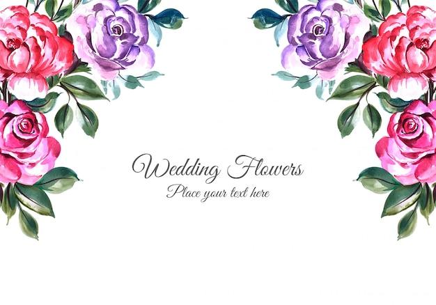 Het kaderachtergrond van huwelijks decoratieve bloemen Gratis Vector